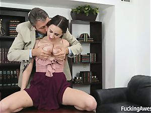 sensual Ashley gets a higher grade with her top shelf breasts