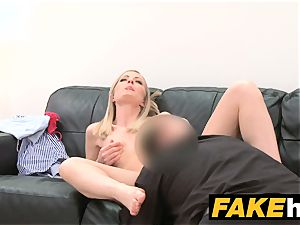 fake Agent shy blonde model likes shaven slit munched