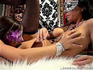 masked lovelies Jessica Jaymes and Rilynn Rae puss gobbling