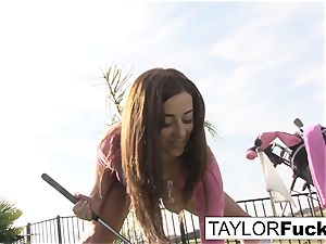 Taylor shows you her hefty boobs