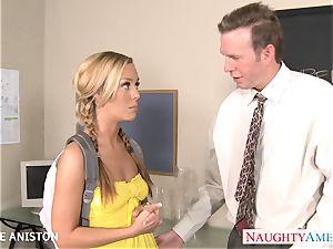 ponytailed Nicole Aniston deep-throat sausage in classroom