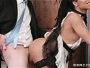 torrid dark-hued maid almost get caught