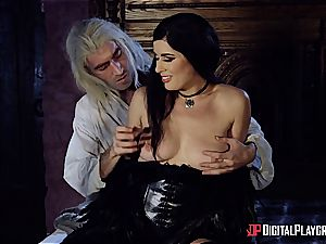 Danny D fools around as Geralt and nails black-haired stunner