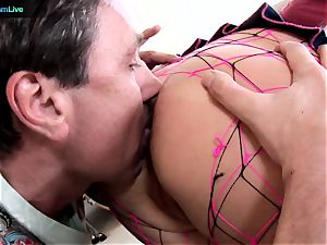 Phoenix Marie takes 2 stiffys on both her slots