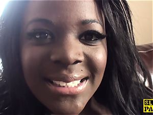 ebony huge-chested brit butt-banged and predominated