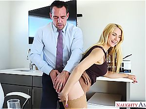 insane office whore takes the medicine anally