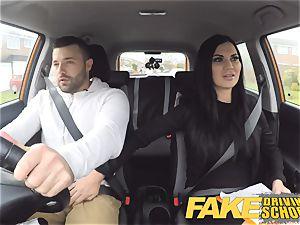 faux Driving school Jasmine Jae totally nude fuckfest in car