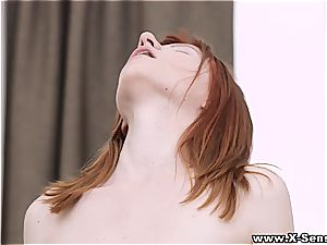 Foxy red-haired gives head and coochie with impressive passion