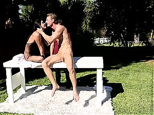 India Summer creampied on the jacking table part two