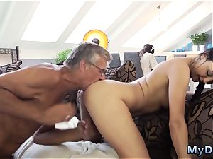 elderly man romps youthfull What would you prefer - computer or your girlpartner?