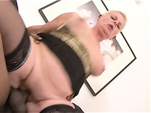 brief hair grandma takes firm cooch plowing by big black cock