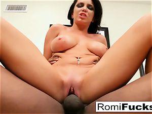 Romi Rain takes on a hefty ebony man rod!
