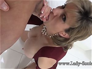 nymph Sonia Mature honey well-lubed Up And inhaling man-meat