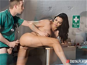 Jasmine Jae sated with her new bod satiates a monster man meat doctor
