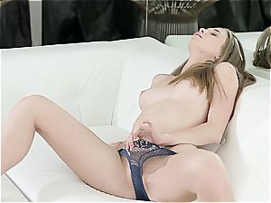 slim Russian with little mammories gropes her mouth-watering cooch