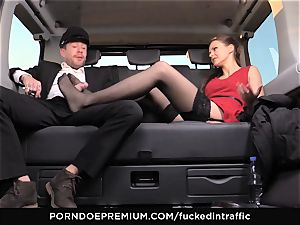 plumbed IN TRAFFIC Tina Kay footjob in the backseat