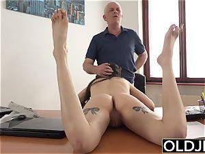 dame pummeled by aged man Office gargle oral job