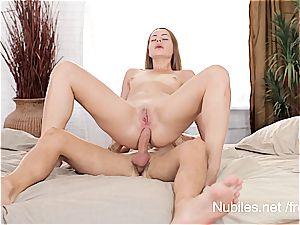 first-ever anal lovemaking vid for tiny funbag hotty Rita Milan