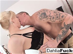 hardcore fuck-fest on a humungous bed with Dahlia Sky and Richie dark-hued
