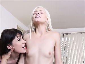 Milfy momma Eva Karera trains hotty Elsa Jean how to deep-throat immense man meat