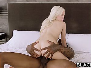 lil' blondie stunner Elsa gets her pussy inserted with massive ebony meat