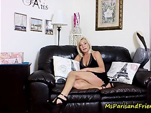spunk on Mommy's jugs with Ms Paris Rose