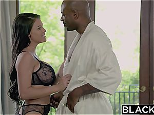 Seducing a gigantic ebony manager with ample chubby bosoms