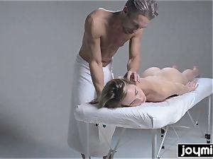 Joymii scorching ash-blonde gets covered in jism after her massage