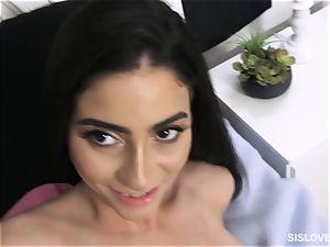 Jasmine Vega gives a forbidden face drill