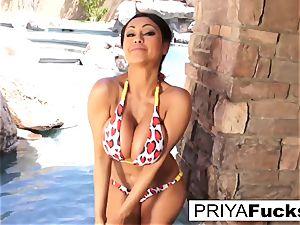 huge-boobed Priya Rai gets all moist outside by the pool