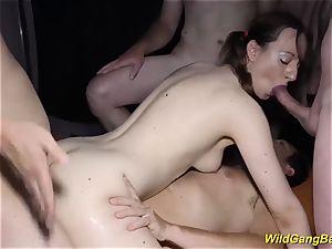harsh double ass fucking gang-fuck sex