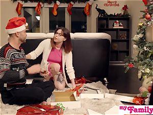 Stepbro's Christmas three-way And sis internal ejaculation S5:E6