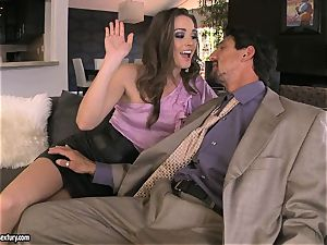 Tori black pleases her man's man meat making it indeed rock-hard to handle