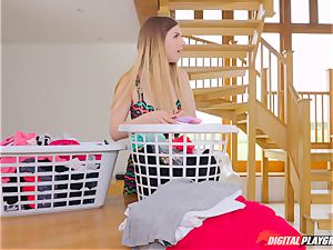 gash rubbing lovely Eva Lovia and Stella Cox messing in the laundry