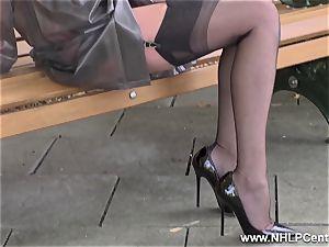 nasty cougar drains in public in nylons garters stilettos