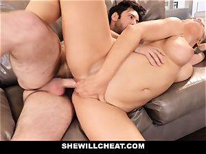 SheWillCheat hotwife wife Gags on pipe
