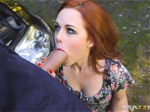 Stranded babe Ella Hughes plows for her car fix