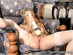 Femorg ash-blonde in stocking Bates moist fuckbox to climax