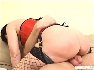 sumptuous Mama Eva In Her underwear plowing A young boy